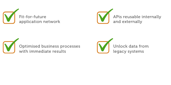 Fit-for-future application network Optimised business processes with immediate results A repository of APis reusable internally and externally Unlocked legacy systems using APIs