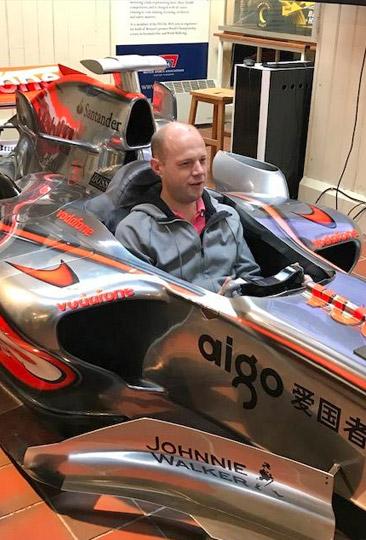 Simulator race in a Mclaren F1 car